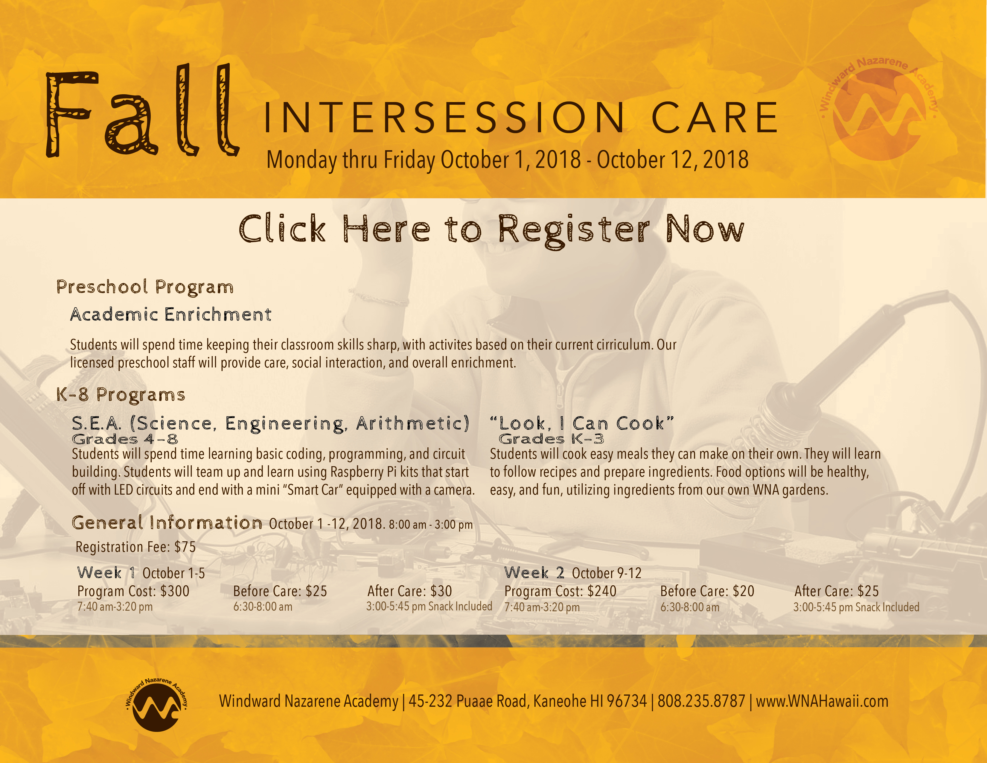Fall Intersession Care